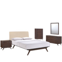 Tracy Five PCS Queen Size Bedroom Set, Beige, Fabric, Wood