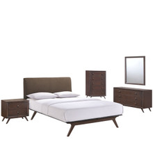 Tracy Five PCS Queen Size Bedroom Set, Brown, Fabric, Wood