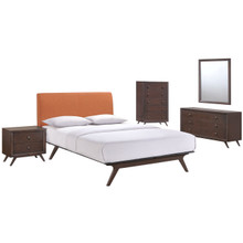 Tracy Five PCS Queen Size Bedroom Set, Orange, Fabric, Wood