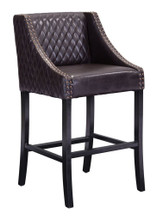 Santa Ana Bar Chair, Brown, Faux Leather