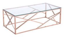 Cage Coffee Table, Gold, Glass