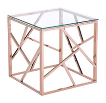 Cage Side Table, Gold, Glass