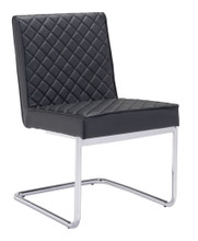 Quilt Armless Dining Chair, Black, Faux Leather (set of 2)