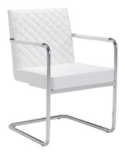 Quilt Dining Chair, White, Faux Leather, Set of 2