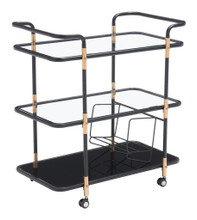 Secret Serving Cart, Black, Glass