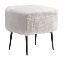 Fuzz Stool, White, Fabric