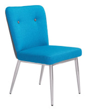 Hope Dining Chair ( Set of 2 ), Blue, Faux Leather