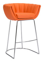 Latte Bar Chair ( Set of 2 ), Orange, Faux Leather