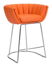 Latte Counter Chair ( Set of 2 ), Orange, Faux Leather