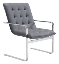 Solo Occasional Chair, Gray, Faux Leather