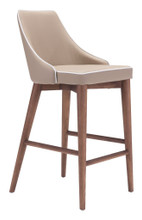 Moor Counter Chair, Beige, Faux Leather