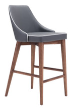 Moor Counter Chair, Gray, Faux Leather