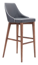 Moor Bar Chair, Gray, Faux Leather