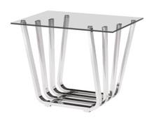 Fan Side Table, Chrome, Glass