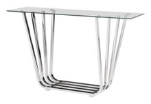 Fan Console Table, Chrome, Glass