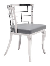 Quince Dining Chair ( Set of 2 ), Gray, Faux Leather