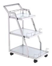 Acropolis Serving Cart, Silver, Glass