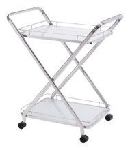 Vesuvius Serving Cart, Silver, Glass