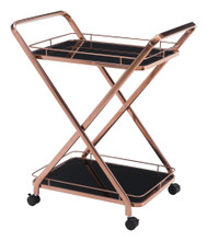 Vesuvius Serving Cart, Gold, Glass