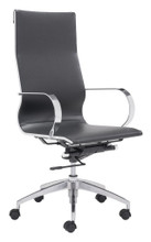 Glider High Back Office Chair, Black, Faux Leather