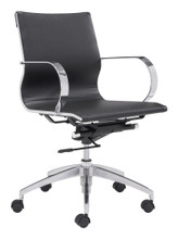 Glider Low Back Office Chair, Black, Faux Leather