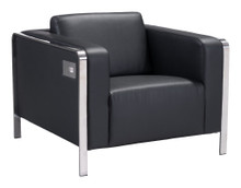 Thor Arm Chair, Black, Faux Leather