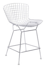 Wire Counter Chair ( Set of 2 ), Chrome, Metal