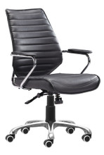 Enterprise Low Back Office Chair, Black, Faux Leather