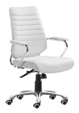 Enterprise Low Back Office Chair, White, Faux Leather