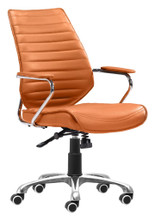 Enterprise Low Back Office Chair, Orange, Faux Leather