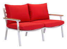Maya Beach Sofa, Red, Fabric
