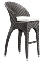 Corona Bar Chair, Gray, Rattan
