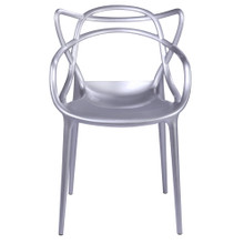 Brand Name Dining Chair, Silver, Plastic