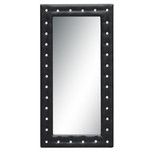 Tufted Mirror, Black, Faux Leather