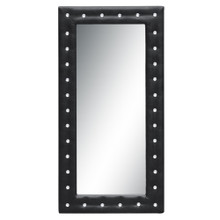 """Tufted Mirror 36"""", Black, Faux Leather"""