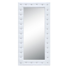 """Tufted Mirror 36"""", White, Faux Leather"""
