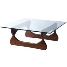 Guchi Coffee Table, Walnut, Glass