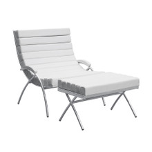 Classic Chair & Ottoman, White, Leather