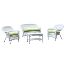 Portside White 4pc Outdoor Set Green Cushion, Wicker