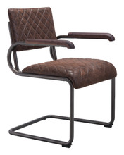 Father Dining Arm Chair Vintage Brown, Faux Leather SET OF 2