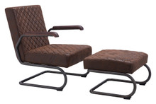 Father Lounge Chair Vintage Brown, Faux Leather