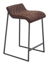 Father Counter Stool Vintage Brown, Faux Leather SET OF 2