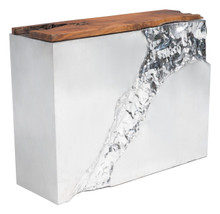 Luxe Console Table Natural & SS, Wood