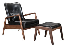 Bully Lounge Chair & Ottoman Black, Faux Leather