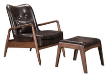 Bully Lounge Chair & Ottoman Brown, Faux Leather