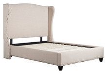 Enlightenment Queen Bed Beige, Fabric