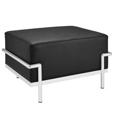 Charles Grande Leather Ottoman in Black