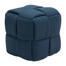Checks Stool Navy Blue, Fabric