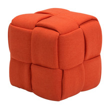 Checks Stool Orange, Fabric