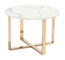 Globe End Table Stone & Gold, Faux Marble